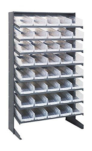 - Quantum 40 QSB104CL Clear-View Bin Storage Sloped Shelving Single-Sided Pick Rack System 12