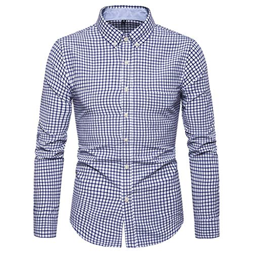 iHPH7 Dress Shirts Slim Fit Long Sleeve Casual Button Down Shirts Dress Shirts Printed Shirts Slim Comfortable Men (3XL,2- Blue) -