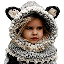 Winter Windproof Knitted Warm Cap Hat Scarf Earflap Beanie Set For Baby Kids