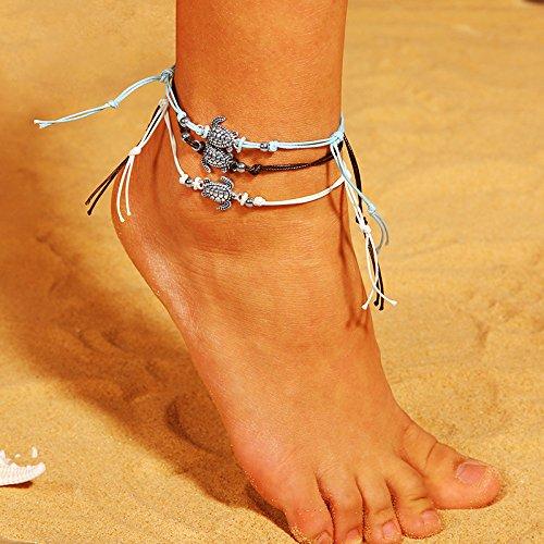 Da.Wa 3X Tobillera de Playa Tobillera de Plata Antigua Conjunto de Tobillera de Cuerda de Cera Playa de Verano la Mejor Opci/ón joyer/ía para Mujeres y ni/ñas