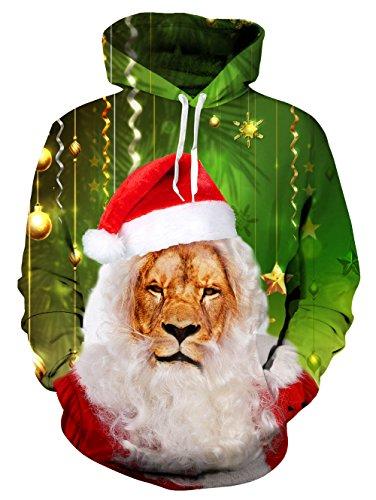 Mens Hat Lion Xmas Hoodie Sweatshirts 3D Printed Pullover Blue Graphic Hoodie Coat (Hat Size Velvet Plus)