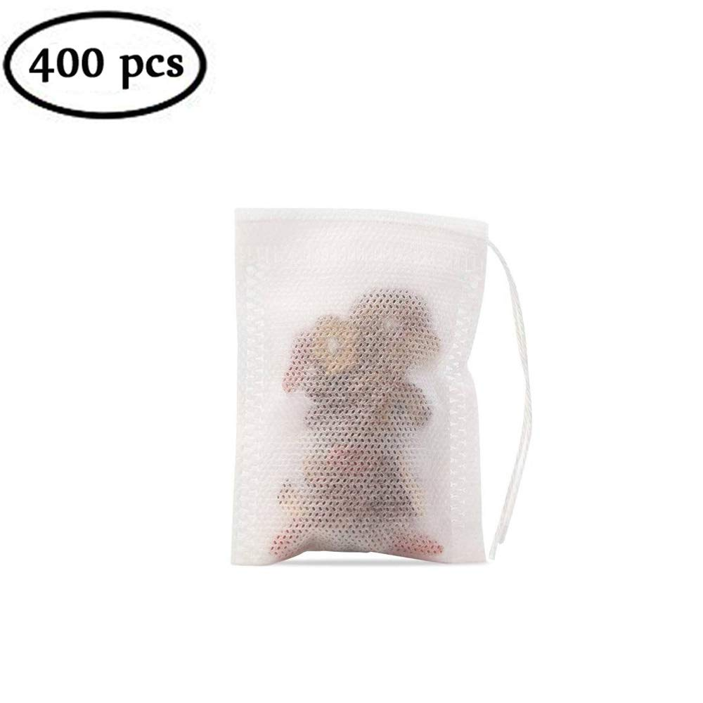400 Pieces Tea Filter Bags Disposable Drawstring Non Woven Tea Bag for Loose Leaf Tea or Flower Fruit Teas (3.542.75 inches)