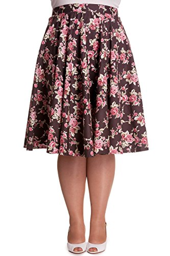 Hell Bunny Rockabilly Vintage Pin up 50s Tattoo Swing Roses Rosie Skirt Plus (2XL) (50s Tattoos)