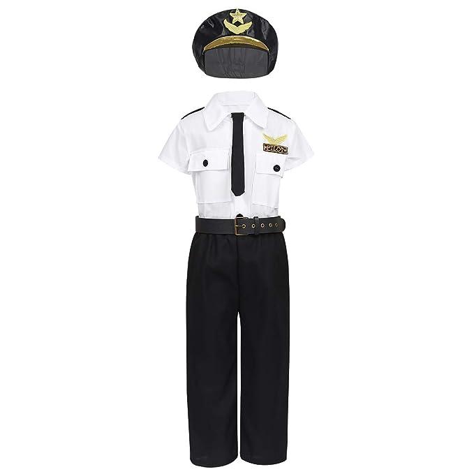 inhzoy Disfraz de Piloto para Niño Uniforme de Policía Cosplay rol ...