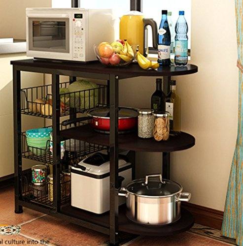 Magshion Kitchen Island Dining Baker Cabinet Basket Storage Shelves Organizer Wood (Black)