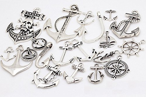 20 PC Nautical Anchor Pirate Charm Pendants Silver Tone, Sailor Navy Jewelry Making DIY (Indian Couple Costume)