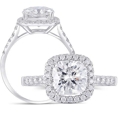 DovEggs 14K White Gold Center 2ct 7.5mm H Color Cushion Cut Moissanite Halo Engagement Ring with Accents - Engagement Setting Gold White