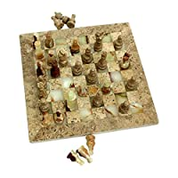 Natures Artifacts Multi Green Onyx and Fossil Coral Chess Set - Fossil Coral Border - 12""