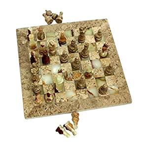 """Natures Artifacts Multi Green Onyx and Fossil Coral Chess Set - Fossil Coral Border - 12"""""""