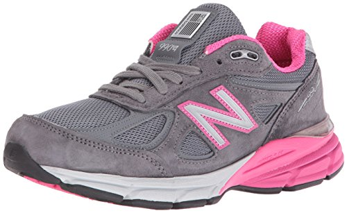 New Balance Women's w990v4 Running Shoes, Grey/Pink, 10 B US -