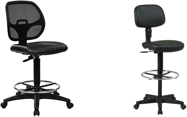Office Star Deluxe Vinyl Seat and Mesh Back Drafting Chair with 20-inch Diameter Adjustable Footring & Sculptured Vinyl Seat and Back Pneumatic Drafting Chair with Adjustable Chrome Foot Ring, Black