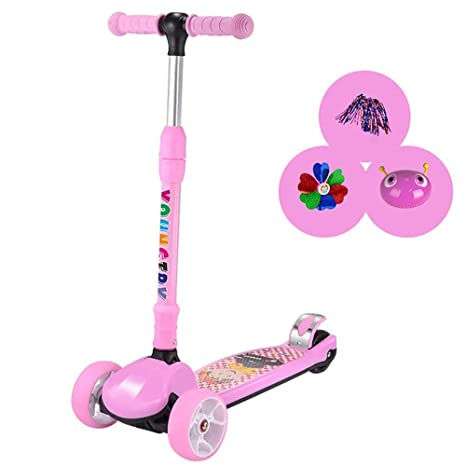 TKTTBD Patinete 3 Ruedas Plegabl,Mini Scooter con Led Rueda ...