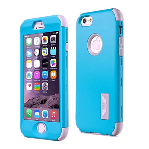 Price comparison product image iPhone 6 / 6S Plus Case GreenElec Ultra Thin and Slim Shockproof Hard Plastic and Soft Silicon Rubber Anti-Scratch Protective Case Fit for Apple iPhone 6 Plus,  iPhone 6S Plus (5.5 inch) (Blue Grey)