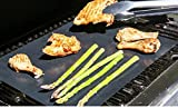 BBQ Grill Mat - Set of 3 Miracle Mats With Two FREE BONUS Items - Basting Brush & BBQ Recipes E-Book - Heavy Duty, Non-Stick, Easy Cleanup, Reusable & Dishwasher Safe - No Fall Through & No Flame Ups