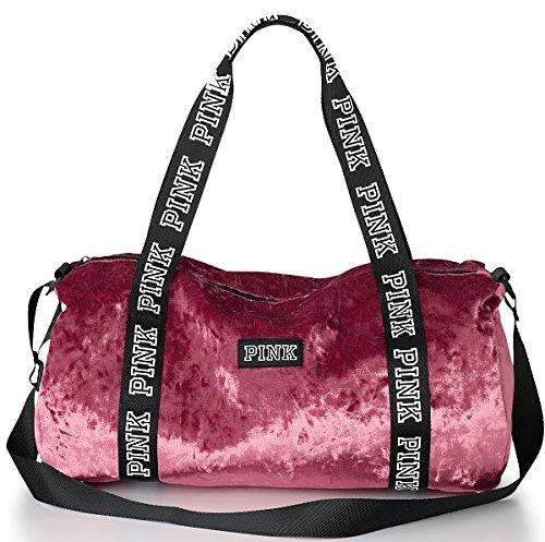 VICTORIA SECRET PINK VELVET DUFFLE TOTE BAG VELOUR 991525a6e