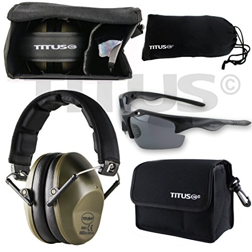 TITUS Earmuff/Glasses Combo - M2 Low-Profile Muffs & G18 Polorized Black Motorsport Safety Glasses - Ear+Eye Protection Bundle (EarMuffs, Glasses, and Carrying Case) Personal Safety - Glass Polorized