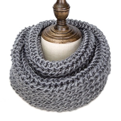 TheFine Unisex Womens Thick Ribbed Knit Winter Infinity Circle Loop Scarf (Gray)