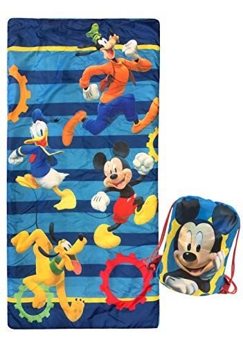 Jay Franco Disney Junior Mickey Mouse Clubhouse Get Going Slumber Sack - Cozy & Warm Kids Slumber Bag/Sleeping Bag - Featuring Mickey Mouse, Donald Duck, Goofy, Pluto (Official Disney Product) (Bags Kids Sleeping For Disney)