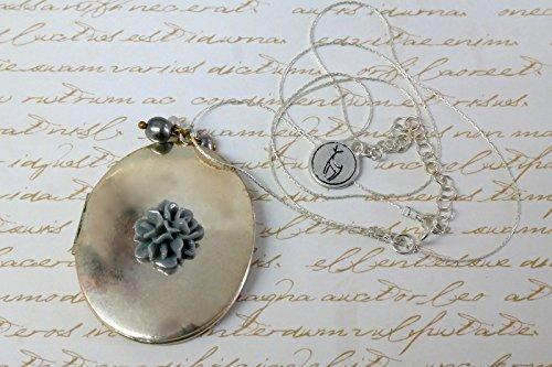 Spirit Wear Ideas (Floral Oval Silver Locket Necklace ,Dahlia flower Locket Necklace)
