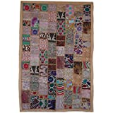 My Craft Palace Handmade Patchwork Cotton Tapestry, Indian Hand Embroidered Patchwork Wall Hanging