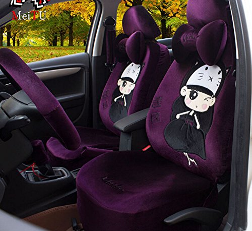 Universal 1 Set Car Seat Covers 18pcs Lovely Purple Princess Push Fashion Cartoon Car Seat Covers Gear Shift Cover (Princess Seat Covers)