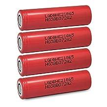4 LG HE2 18650 2500mAh 35A 3.7v Rechargeable Flat Top Batteries