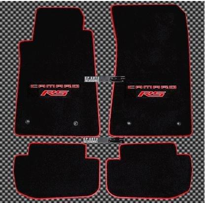 "2010 2011 2012 2013 2014 Camaro 4Pc Floor Mat Set W. Dual ""Camaro RS"" Embroidery in Red & Red Premium Edge Binding"