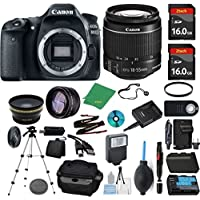 Canon EOS 80D Camera + 18-55mm STM + 2pcs ZeeTech 16GB Memory + Case + Reader + Tripod + Starter Set + Wide Angle + Telephoto + Flash + Battery + Charger + Filter - International Version