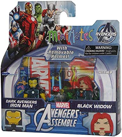 Marvel MiniMates Avengers Assemble Dark Avengers Exclusive Iron Man /& Black Widow