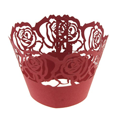 UNIQLED Pack of 50 Filigree Rose Artistic Bake Cake Paper Cups Lace (50 Rose)