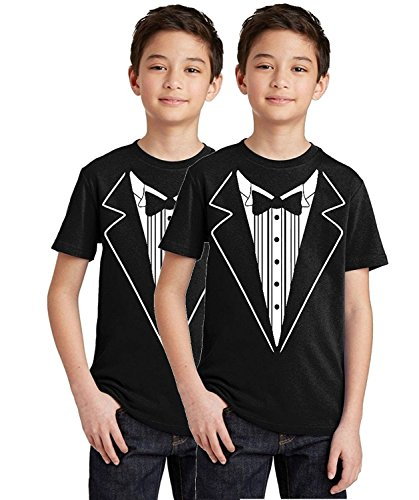 - P&B Tuxedo White Funny Youth T-Shirt, Youth XL, Black (Set of 2)