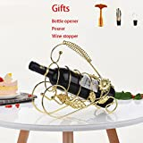 stainless steel Wine glass holder creative wine rack decoration high-end wine decoration upside down wine bottle holder sun flower (Gold)