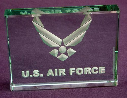 U.S. Air Force: Hand Carved Etched Glass Paperweight by Crystal Etch (Image #2)