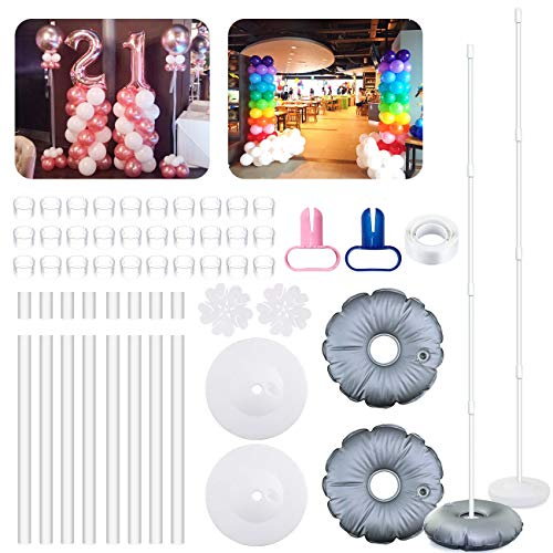Balloon Columns Kit (2 Set Balloon Column Kit Base Stand and Pole 6 feet Height + 30Pcs Balloon Rings, Balloon Tower Decoration for Birthday Party Wedding Party Event)