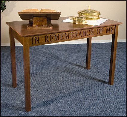 In Remembrance of Me Maple Hardwood Communion Table with Walnut Stain Finish, 48 Inch by Christian Brands
