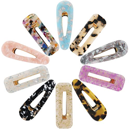 Acrylic Resin Hair Clips for Women Girls, Funtopia 10 Pcs 2.8 Inches Fashion Hair Barrettes Geometric Alligator Hair Clips for Party Daily Hairstyling