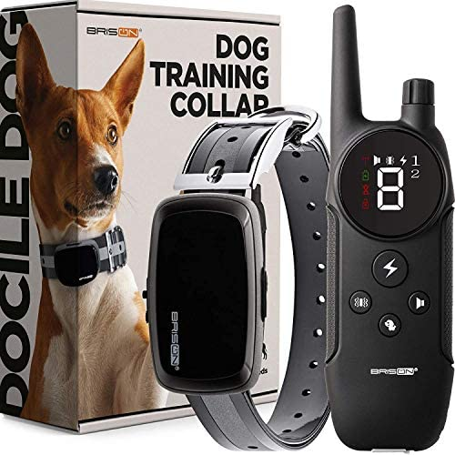 BRISON Dog Training Collar – 3 Modes – Rechargeable Waterproof Anti Bark Collar with Remote Trainer E-Collar 1000 ft
