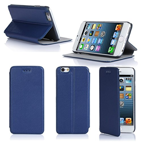 Ultra Slim Tasche Leder Style iPhone 6S 4.7 2015 Hülle blau Cover mit Stand - Zubehör Etui smartphone 2014 Apple iPhone 6 Plus 4,7 Flip Case Schutzhülle (Handy tasche folio PU Leder, Blue) - Brand XEP