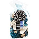 Qingbei Rina Ocean Scent Summer Potpourri Bag Perfume Sachet, Decoration and Gift, Rattan Balls Lotus Pods Pine Cones Dried Flowers and Plants, 9.9 Ounce Turquoise Blue