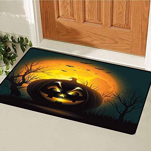 GloriaJohnson Halloween Welcome Door mat Fierce Character Evil Face Ominous Aggressive Pumpkin Full Moon Bats Door mat is odorless and Durable W23.6 x L35.4 Inch Orange Dark Brown Black]()