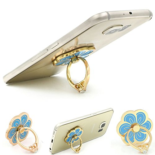 Kickstand Bunker Ring Stand [Anti Drop] Floral Design Metal Finish Ring for iPhone 6 Plus S6 iPad Mini Samsung Galaxy S5 S6 Note 4 Note 3 - Blue
