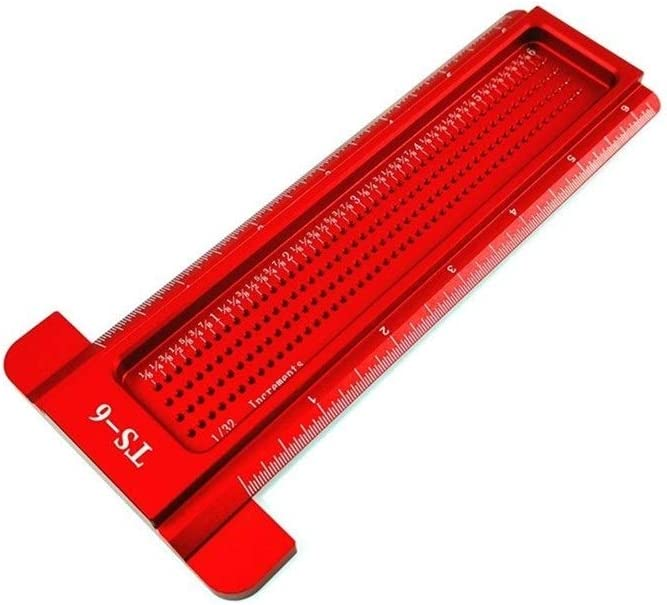 BZH Rough 6/8inch Aluminum Scale Ruler T-type Hole Ruler Woodworking Scribing Mark Line Gauge Carpenter Measuring Tool Center (Color : TS 8 Red) Ts 6 Blue