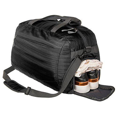 Coreal Duffle Bag Sports Gym Travel Camping Luggage Including Shoes Compartment Women & Men Black