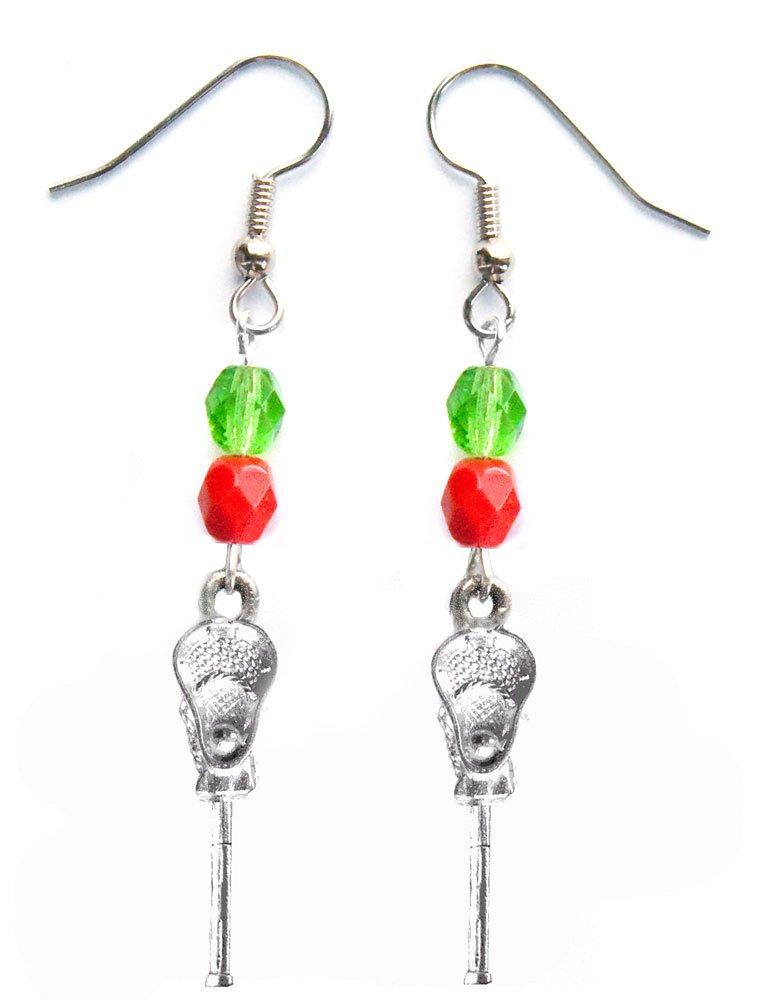 ''Lacrosse Stick & Ball'' Lacrosse Earrings (Team Colors Kelly Green & Red)