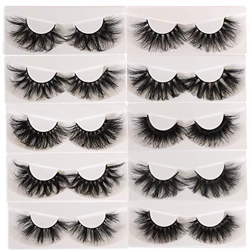 10 Pairs 25mm Lashes Fluffy Mink Eyelashes 100% Siberian Wholesale&Bulk Lashes Set
