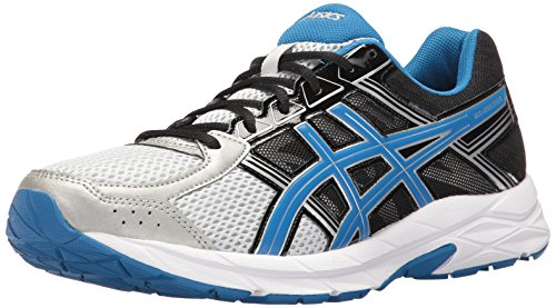 ASICS Men's Gel-Contend 4 Running Shoe, Silver/Classic Blue/Black, 8.5 4E US Classic Performance Cross Trainer