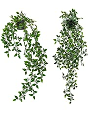 Artigreen 2 Pack Artificial Plants Ivy Leaves Vine Hanging indoor Potted Plants,Fake Topiary Shrubs Greenery Potted Plant,Plastic Leaves for Home Wall,Desk Decor.Exquisite,New House Gift
