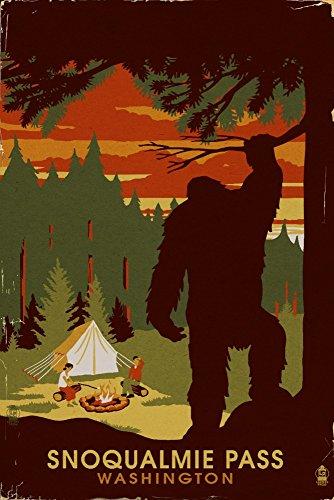 Snoqualmie Pass  Washington   Home Of Bigfoot  9X12 Art Print  Wall Decor Travel Poster