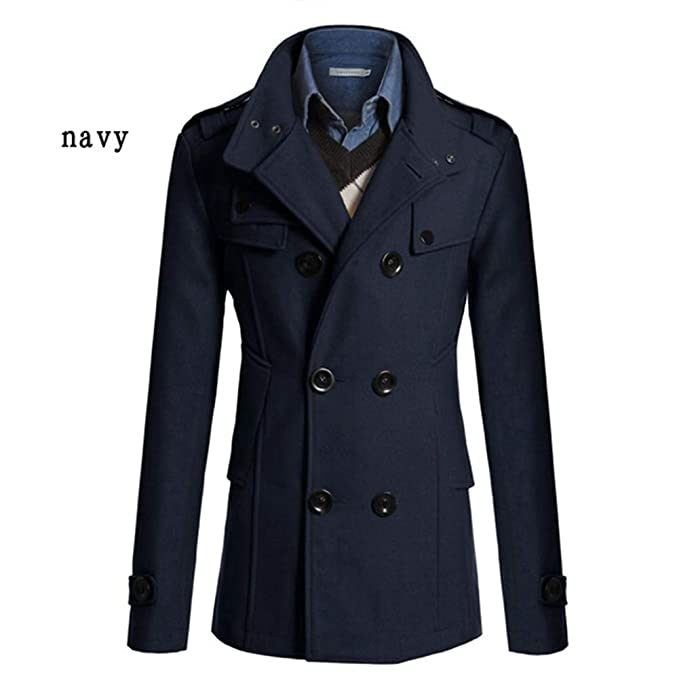 a8539c0c9b2 Leoie Winter Jackets Coats for Men Winter Warm Formal Trench Coat Reefer  Jackets Solid Color Stand