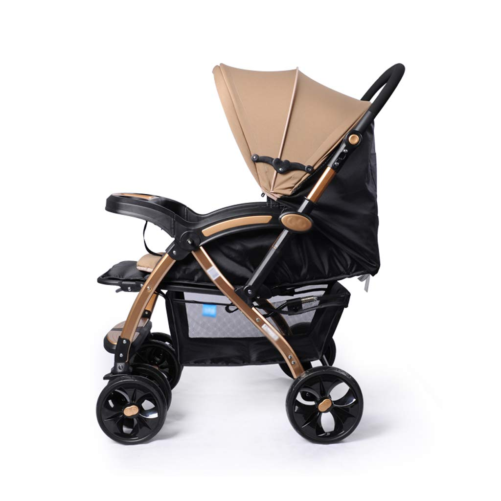 Strollers Baby Stroller High Landscape Baby Trolley Car Wheelchair Baby Stroller Portable Folding Pram Dinner Plate Armrest Bottom Basket Baby Carriage (Color : A) by Xxw Strollers (Image #2)